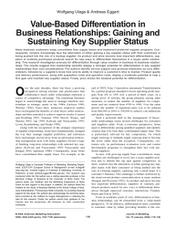 Value-Based Differentiation in Business Relationships: Gaining and Sustaining Key Supplier Status [article]