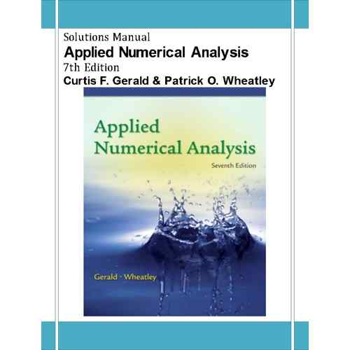 applied numerical analysis by gerald and wheatley solution manual pdf